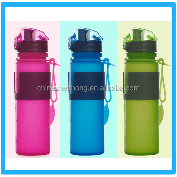 500ML LFGB&FDA Standard Collapsible Silicone Bottle,Portable Camping Outdoor Use Folding Water Bootle