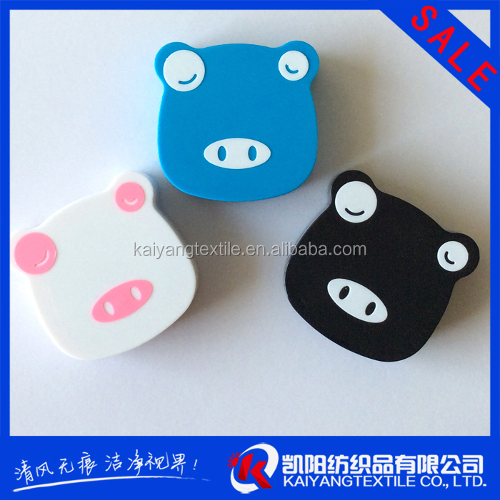 cartoon image blue pig reasonable price contact lens case with mirror