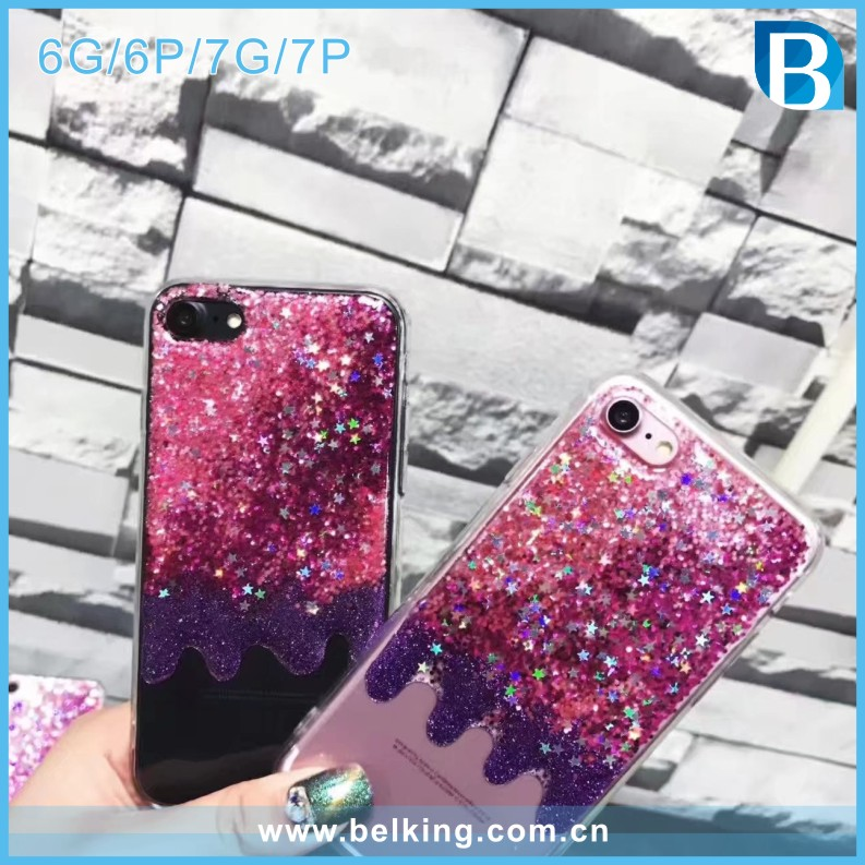 Resin Drop Rubber TPU Quick Sand Effect Mobile Case for iPhone 7 Phone Case Shiny Bling