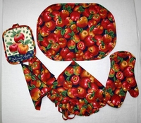 4pcs Kitchen Textile Sets(Apron,tea towel,oven mitt,place mat)