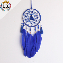 DLX-00049 car dream catcher with feather wholesale factory 10cm with tassel purple smalll dreamcatcher handmade