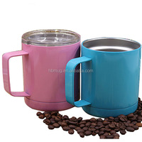 best selling custom 18/8 stainless steel double wall insulated vacuum 10oz travel mugs with handle and lid for coffee
