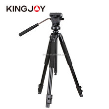 Kingjoy professional aluminum alloy video tripod with fluid head for dslr camera photography