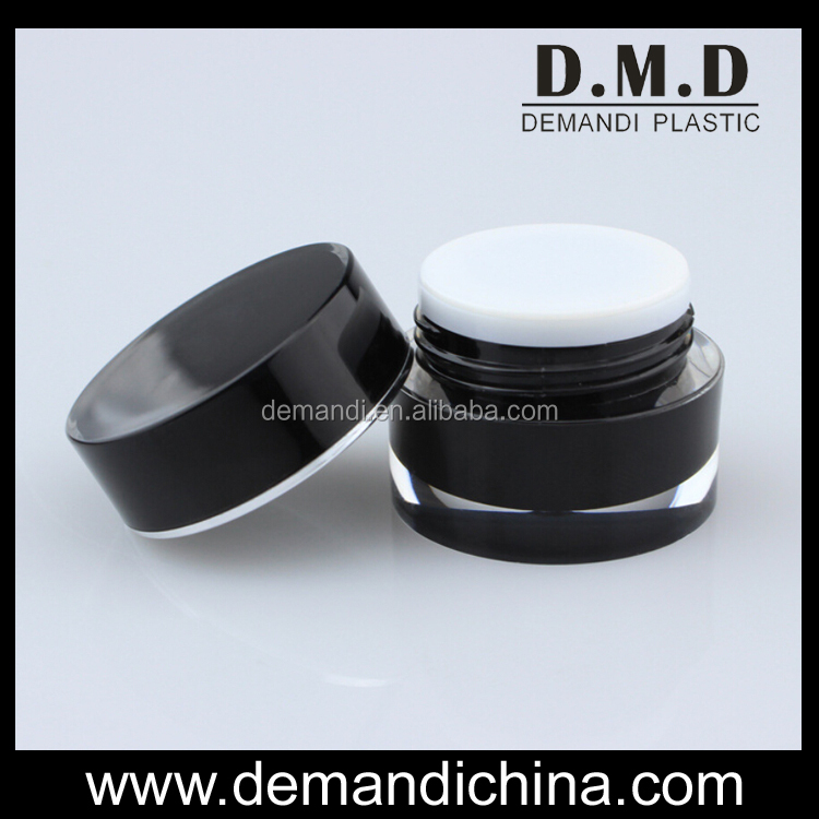 Black acrylic cream jars round 5g 10g 15g 30g 50g gold plastic colored cosmetic jar