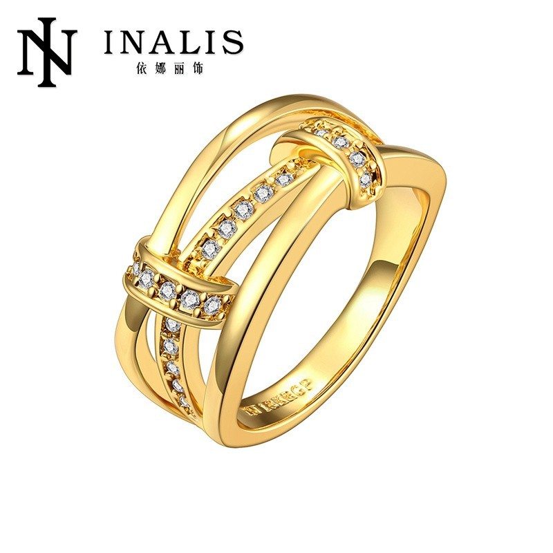 Gold Plated Jewelry Wholesale Love Engagement Ring &18kgp Ring Jewelry