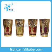 class cup,gols plated tea cup set,coloured glass tableware