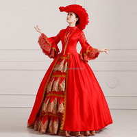 Vintage Women Renaissance Medieval Game Red Retro Court Cosplay Costume Dress