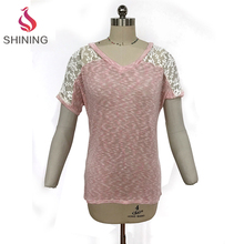 Wholesale loose t-shirt polyester promotional burnout t shirts wholesale women / burnout tshirts wholesale lady cotton top for l