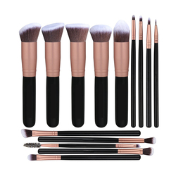 Customs Logo 14pcs Make Up Brushes Wood Handle Makeup Brush Set for Girl