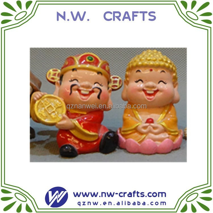 china feature mini buddha and God of Wealth figurine resin