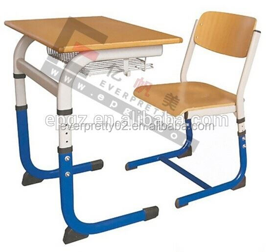 Hot Sell !! MDF Top Wooden Adjustable School Desk / Height Adjustable Single Student Desk Metal Legs