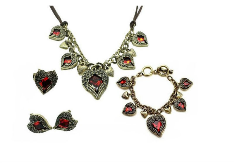Amazing Vintage Jewelry Set Earrings+Necklace+Bracelet+Ring --Red Heart Fit For Party #SH01S