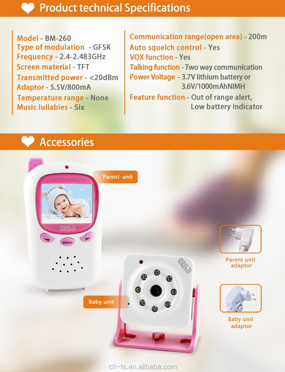 2.4 inch wireless digital cmos sensor camera infrared night vision baby monitor video