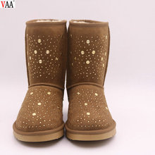 High Discount Genuine Leather Factory Wholesale Shiny Sequins Slip-on Women Snow Boots In Stock JLX-CF-380