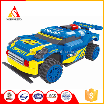Best selling ABS plastic blue race car building blocks toys for kids