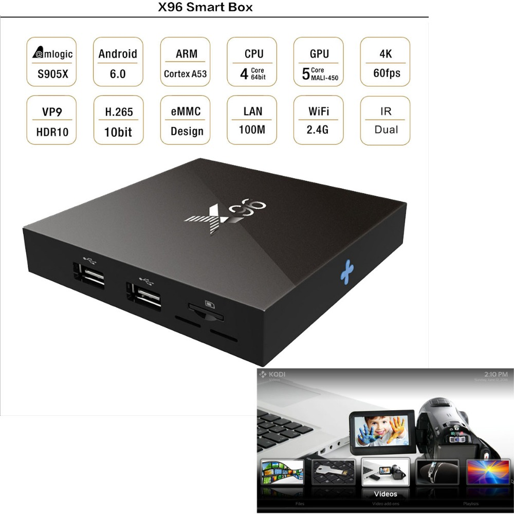 KODI XBMC fully loaded Arabic Android TV Box Mini PC x96 pro firmware android Smart TV Media Player with Remote Controller