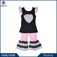 2015 Boutique Girls Polka-dot Heart Tunic with Capris 2-piece Outfit Baby Girls Party Dresses