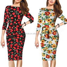 Tight Dress Name Western Women Clothing Top Selling New Design Normal Office Party Sexy 3/4 Sleeve Floral Printed Bodycon Dress