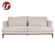Professional Italy solid wood leg lounge white 2 seat chesterfield fabric sofa lounge