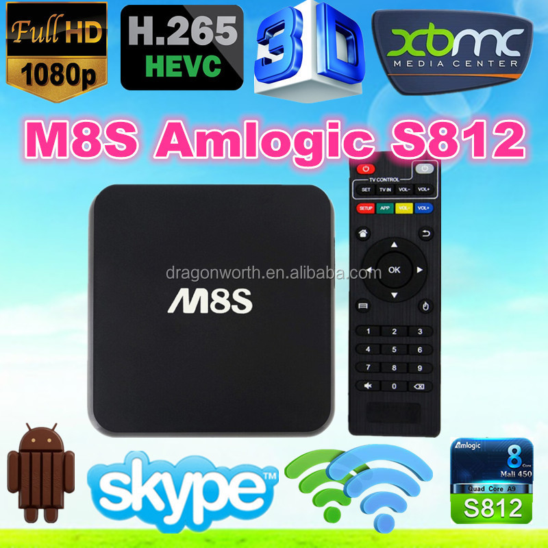 Full Hd Media Player M8S Oem Amlogic S812 2.0Ghz Ultra Hd 4K 3D Blu-Ray Player Google Android 4.4 M8S Amlogic S812