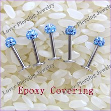 [FC-962C] With Epoxy Covering Balls High Polish Stainless Steel Unique Labret Studs