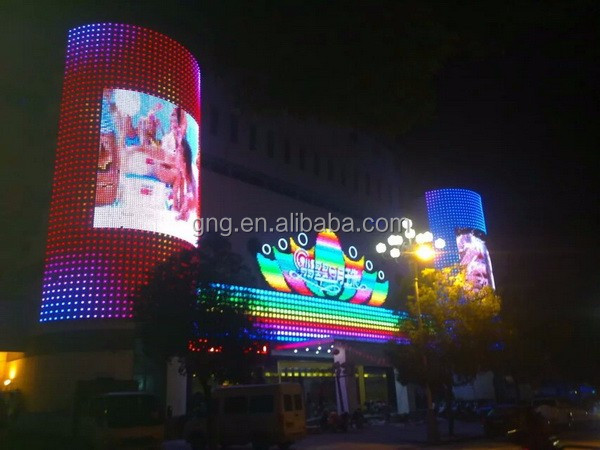 High quality IP68 30 40 50 mm full color transparent mesh led video wall display screen media facade