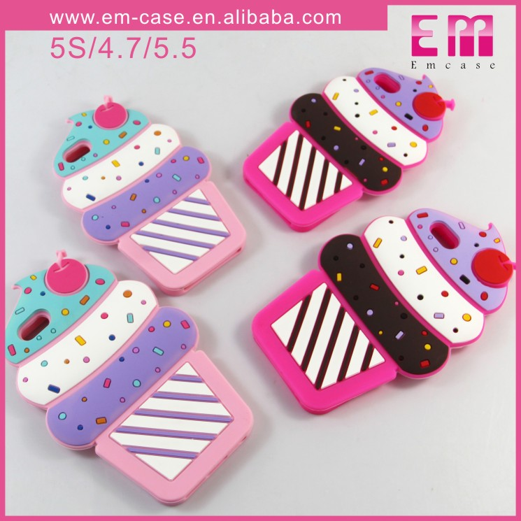Fashion Mobile Ice Cream Rubber Soft Silicon Case For iPhone 5/6/6 Plus Phone Covers