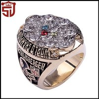 Chinese Championship Jewelry Supplier 18K White Gold Plated Copper Football Ring for Men