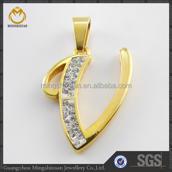 Stainless steel gold plating letter style jewelry pendant parts