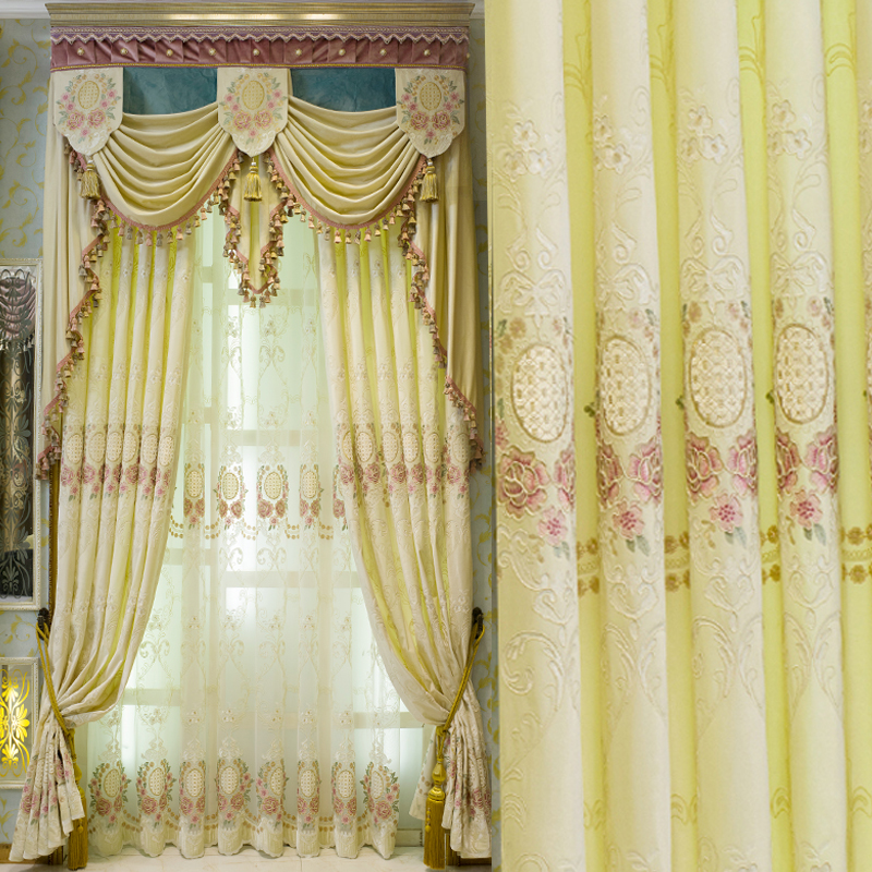 Beige velvet Korean style embroidered curtains fabric Fancy Valance curtains