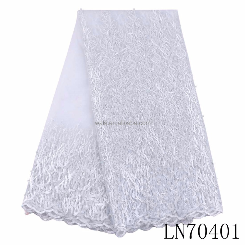LN70401 white color bride wedding white color beads tulle lace nigeria tulle lace 3D flower african french net lace fabric