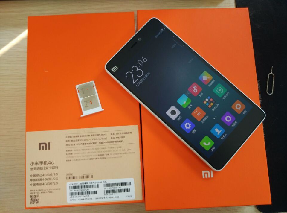 Xiaomi Mi4c mi 4c 4G FDD LTE Cell Phone 5 inch Android 5.1 Snapdragon 808 Hexa Core 2GB RAM 16GB ROM