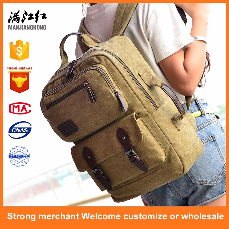 2017 custom outdoor khaki men rucksack vintage backpack