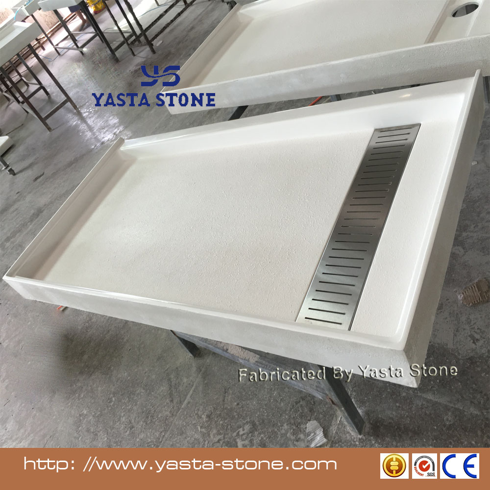 Wholesale USA Cast Cultured Marble Hospitality Brands Shower Tub Pan