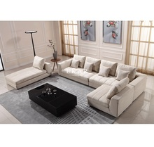 Living Room Modern Couch I Shape Fabric 7 Seater Sectional Sofa Set Designs