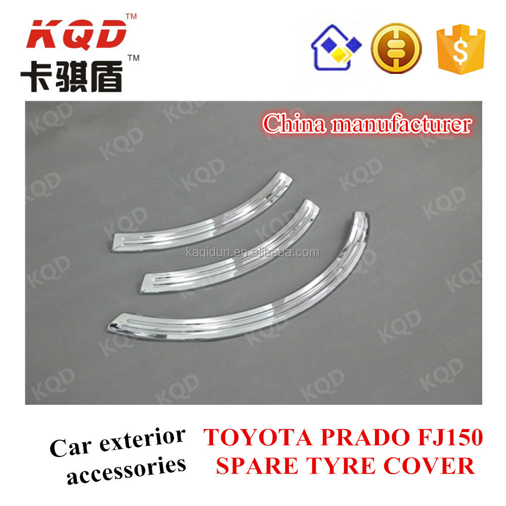 Car parts accessories ABS 3 PCS Chrome PRADO SPARE tyre cover for TOYOTA Land cruiser best selling car accessories Guangzhou
