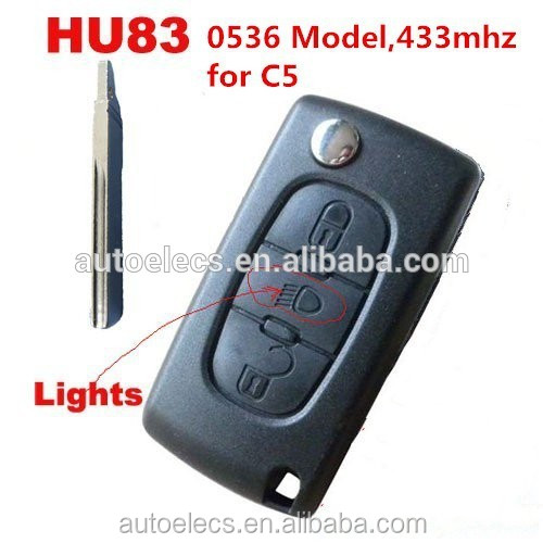 Folding car <strong>key</strong> for Citroen C4 C5 433mhz HU83 blade with Light Button