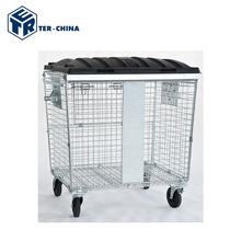 Steel Metal Mesh Nestable Goods Roll Containers For Sale