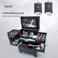 Professional Leather Rolling Makeup Nail Polish Trolley Case