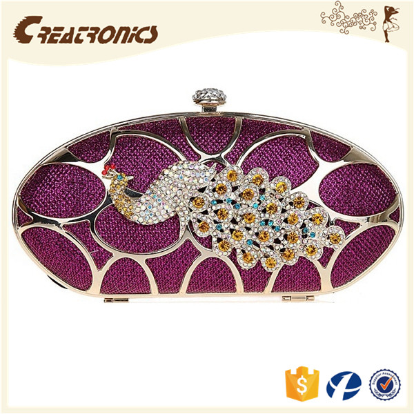 CR Europe market expert passed group peacock decorative gridding mesh pu material purple color noble elegant peacock clutch bag