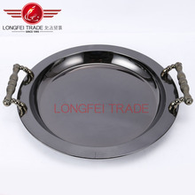 black round high quality stainless steel plate/bbq tray