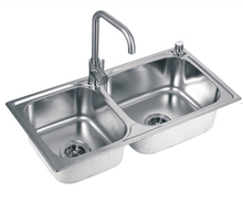 Under-mount double bowl stainless steel kitchen wash basin