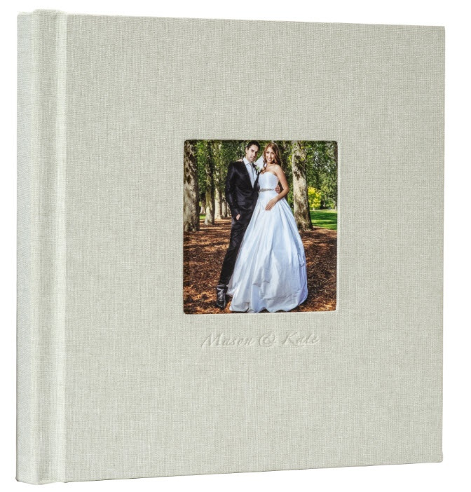 leather cover flush mount photo album with frame cover and imprinting for wedding photo