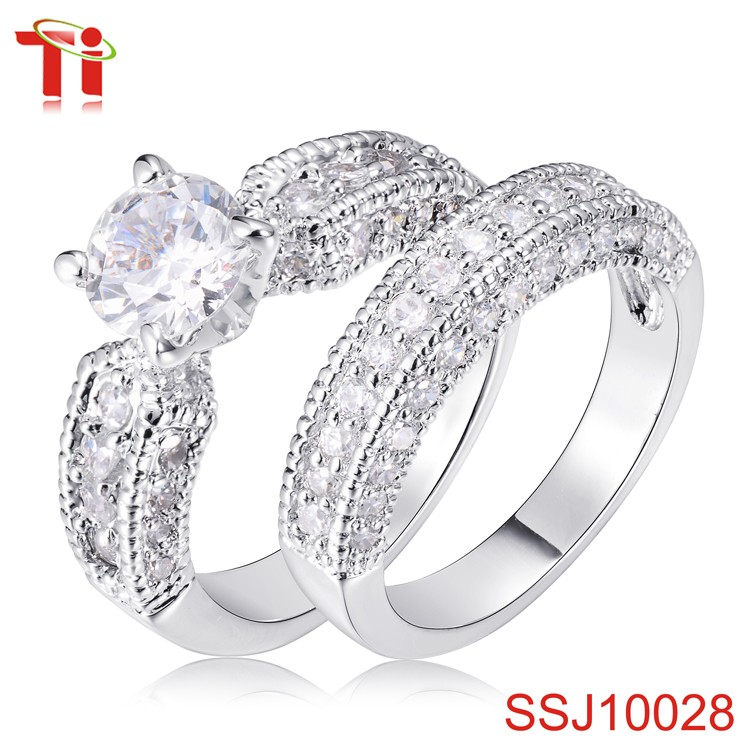 fashion real stone jewelry 925 sterling silver ring stainless steel zircon diamond drill bit engagement ring couple wedding band