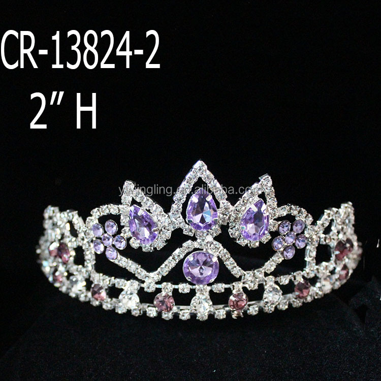 Pruple Rhinestone Beauty Queen Crown For Wholesale