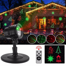 UL Listed Red Green Christmas Laser Light Projector with 5 Patterns, Remote Control for Outdoor Garden Patio Wall Decorations
