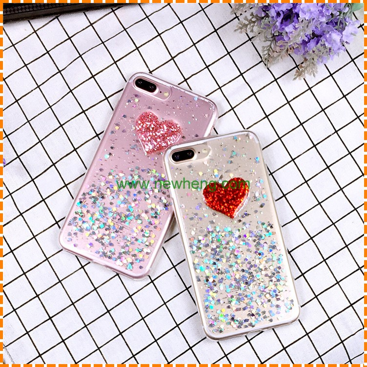 New fashion heart shaped silicon glitter mobile phone case For iPhone 6 6s