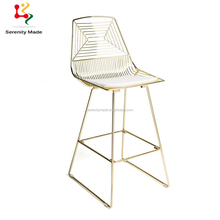 Guangzhou stackable outdoor wire metal bar stools for commercial use