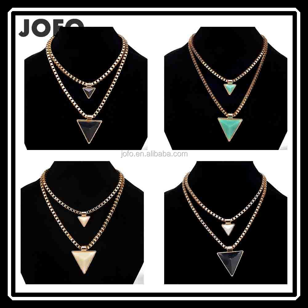 3CJ-002 Jewellery Fashion Accessories Necklace Jewelry 2 Layers Women Pendant Geometric Triangle Neckalce