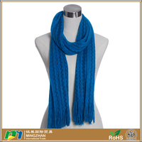 Womens Winter Blue Wave Patterns Crochet Stretch Knit Scarf Wholesale